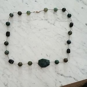 Jade colored black knotted bead necklace